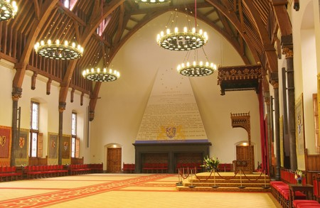 Ridderzaal, or Hall of Knights, in The Hague, Holland, with throne of Dutch Queen Stock Photo