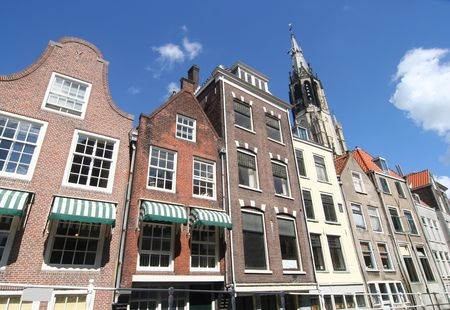 house gables: Historic houses in Delft, Holland