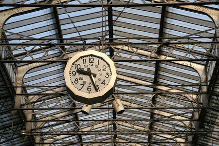 railway station: Railway station clock in Paris. Gare de LEst. Stock Photo