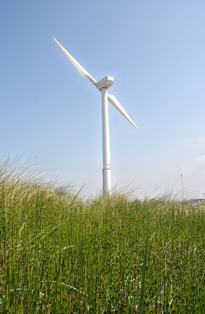 Wind turbine in the dunes photo