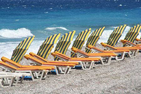 Beach chairs and parasols on Rhodes Beach photo