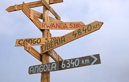 names: Wooden roadsign with place names of UN Missions