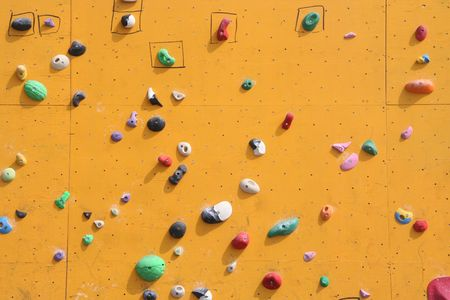 climbing wall: Close up of a bouldering wall for climbing