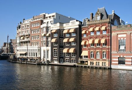 accomodation: Houses and hotels on an Amsterdam canal Stock Photo