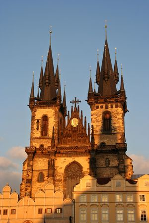 tyn: Tyn Cathedral on Prague Town Square in evening sun Stock Photo