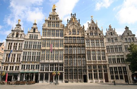 the flanders: Antwerp mansions on central square of historic city centre
