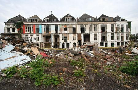 sacrificed: Demolition of historical houses in Delft, Holland, sacrificed to a railwayline Stock Photo
