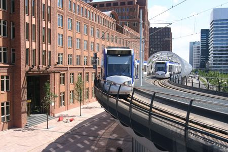 elevated: Newly built elevated tram track in The Hague, Holland