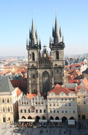 tyn: Famous Tyn Cathedral on Old Town square in Prague