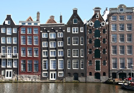 Houses on Amsterdam canal Stockfoto