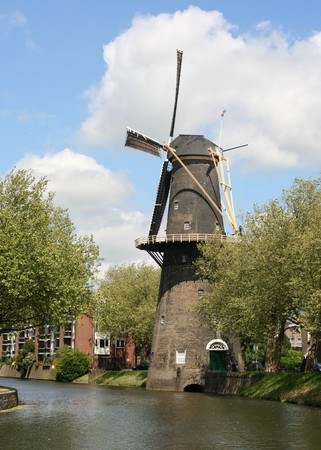 schiedam: Large Dutch windmill in Schiedam, Holland Stock Photo