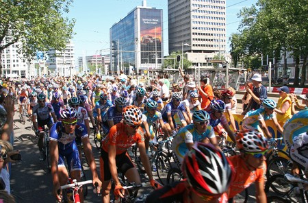 ROTTERDAM, HOLLAND - JULY 4, 2010: Cyclists at the start of the first stage of the Tour de France in Rotterdam, Holland on July 4, 2010