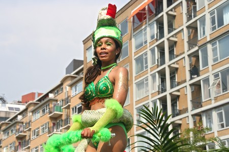 ROTTERDAM - SUMMER CARNIVAL, JULY 26, 2008. Carnival dancer with Snake theme at the Caribbean carnival parade in Rotterdam on July 26.