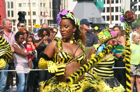 ROTTERDAM - SUMMER CARNIVAL, JULY 26, 2008. Carnival dancers with Bees theme at the Caribbean carnival parade in Rotterdam on July 26.