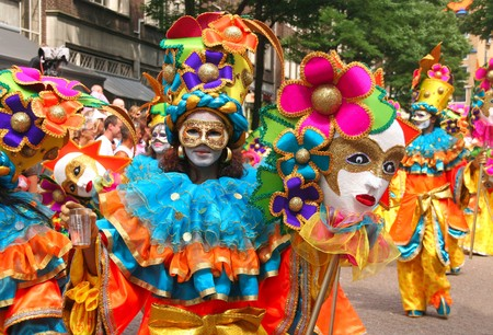 ROTTERDAM, HOLLAND - JULY 25, 2009: Participants in the parade of the annual Summer Carnival in Rotterdam on July 25, 2009 in Rotterdam, Holland