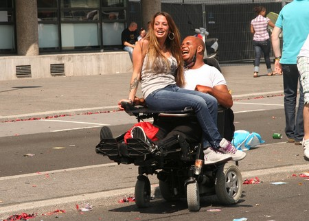 ROTTERDAM, HOLLAND - AUGUST 8, 2009: Participants in the annual Dance Parade event in Rotterdam, Holland on August 8