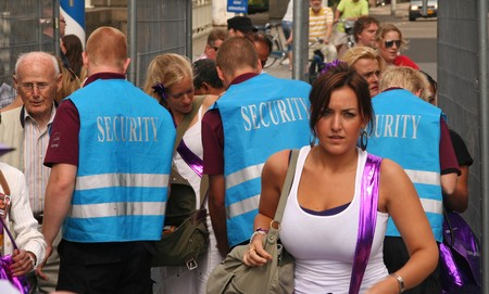 ROTTERDAM, HOLLAND - AUGUST 8, 2009: Security Check at the annual Dance Parade in Rotterdam, Holland on August 8 Stock Photo - 7457551