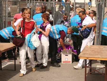ROTTERDAM, HOLLAND - AUGUST 8, 2009: Security Check at the annual Dance Parade in Rotterdam, Holland on August 8 Stock Photo - 7457553