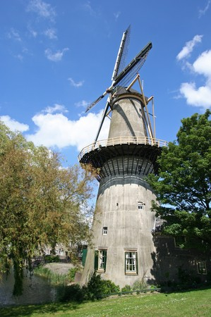 Large stone windmill incorporating a miller's home in Schiedam, Holland Stock Photo - 7513696