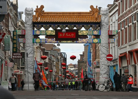 THE HAGUE, HOLLAND - FEBRUARY 13, 2010: Gate to Chinatown during Chinese New Year celebration in The Hague, Holland on february 13, 2010