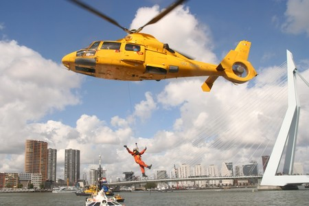 Rotterdam, Holland - September 6, 2009: Demonstration of Rescue Operation at the World Harbor Days in Rotterdam, Holland