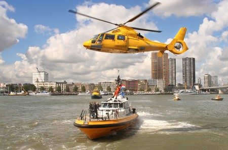 rotterdam: Rotterdam, Holland - September 6, 2009: Demonstration of Rescue Operation at the World Harbor Days in Rotterdam, Holland