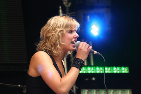 pep: The Hague, June 20, 2009: Singer Ella of the girls band pEp at Pink Saturday festival in The Hague, Holland