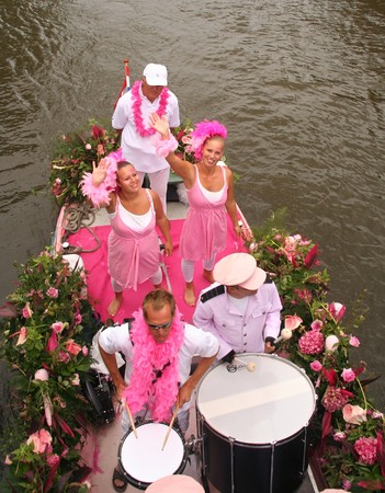 canal parade: Delft, Holland, 31 july 2009: Participants in the annual Flower Corso by boat in Delft canals