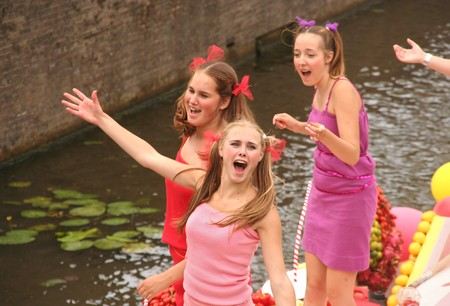 Delft, Holland, 31 july 2009: Participants in the annual Flower Corso by boat in Delft canals