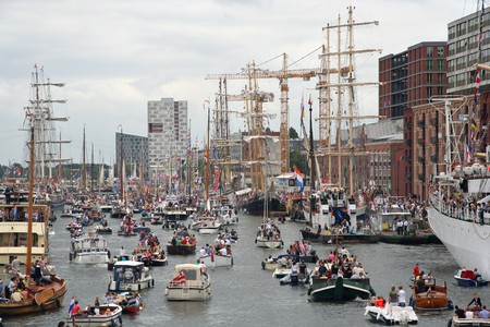 AMSTERDAM, AUGUST 19, 2010: Parade of boats at Sail 2010 in Amsterdam, Holland on august 19, 2010 Stock Photo - 7659993