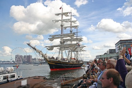 AMSTERDAM, AUGUST 19, 2010: Tall ship 'Stad Amsterdam' at Sail 2010 in Amsterdam, Holland on august 19, 2010 Stock Photo - 7659975