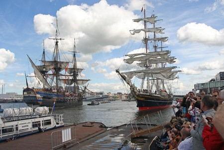 tall ship: AMSTERDAM, AUGUST 19, 2010: Tall ship Stad Amsterdam and Swedish ship Gothborg at Sail 2010 in Amsterdam, Holland on august 19, 2010