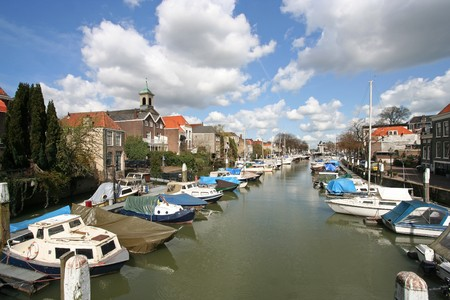 dordrecht: Old harbor with boats in Dordrecht, Holland Stock Photo