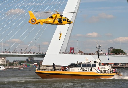 ROTTERDAM, HOLLAND - SEPTEMBER 5, 2010: Demonstration of rescue operation at sea at the annual World Harbor Days in Rotterdam, Holland on September 5