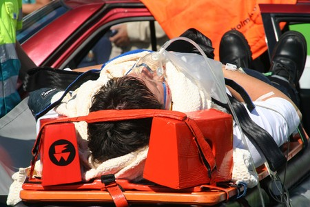 ROTTERDAM, HOLLAND - SEPTEMBER 5, 2010: Demonstration of handling of car crash victim by medics at the annual World Harbor Days in Rotterdam, Holland on September 5