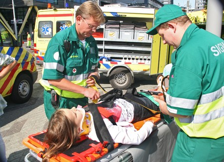 ROTTERDAM, HOLLAND - SEPTEMBER 5, 2010: Demonstration of ambulance personnel at the annual World Harbor Days in Rotterdam, Holland on September 5