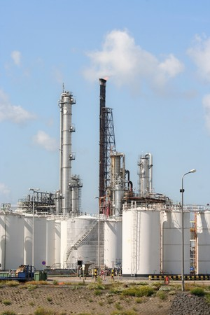 Oil refinery and depots in Rotterdam harbor area Stock Photo - 7838271