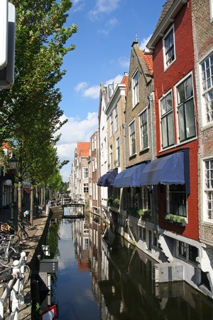 Canal and restaurant in Delft, Holland Stock Photo - 7878400