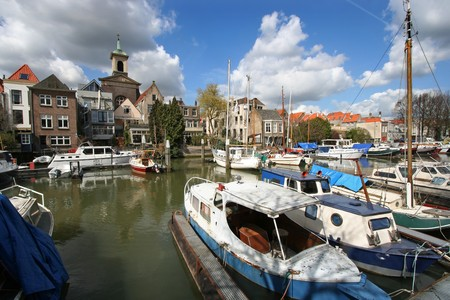 dordrecht: Canal with boats in Dordrecht, Holland