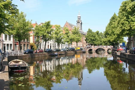 Canal and church in Leiden, Holland photo