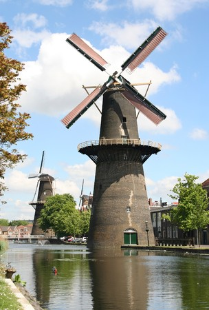 schiedam: Large Dutch windmill an Schiedam, Holland Stock Photo