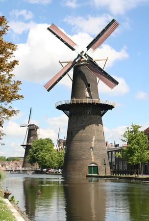 schiedam: Large Dutch windmill an Schiedam, Holland Stock Photo