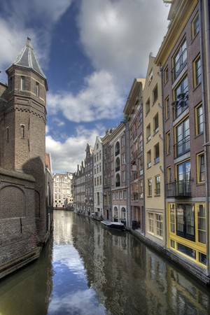 Canal and historic houses in Amsterdam, Holland photo
