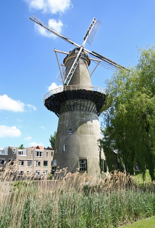 schiedam: Large stone windmill incorporating a millers home in Schiedam, Holland