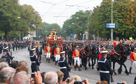 beatrix: THE HAGUE, HOLLAND - SEPTEMBER 21, 2010: Golden Coach with Queen Beatrix on Prinsjesdag (annual presentation of Government Policy to Parliament by the Queen) in The Hague, Holland on september 21