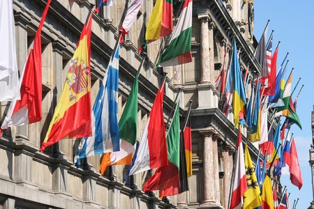 International flags on City Hall of Antwerp, Belgium