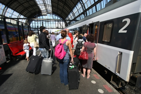 Train passengers on the platform at Amsterdam Centraal Station. Picture taken on July 30, 2010 in Amsterdam, Holland.