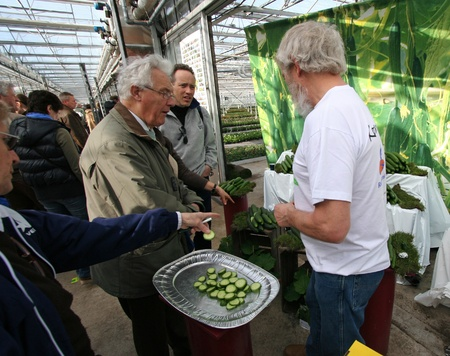 Demonstration of products at greenhouse by grower. Picture taken in greenhouse in Naaldwijk, Holland on March 27, 2010.