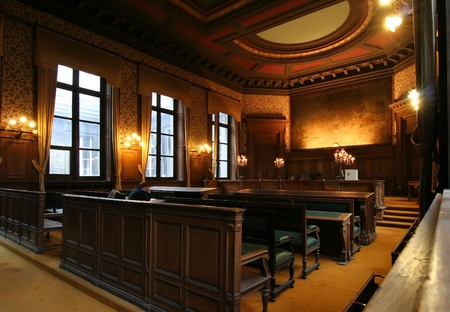 law: Court room in the Palace of Justice in Brussels, with a lawyer preparing his case. Picture taken on October 27, 2006 in Brussels, Belgium Editorial