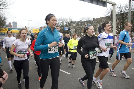 THE HAGUE, HOLLAND - MARCH 13, 2011: Runners in the half marathon of The Hague, Holland on March 13, 2011